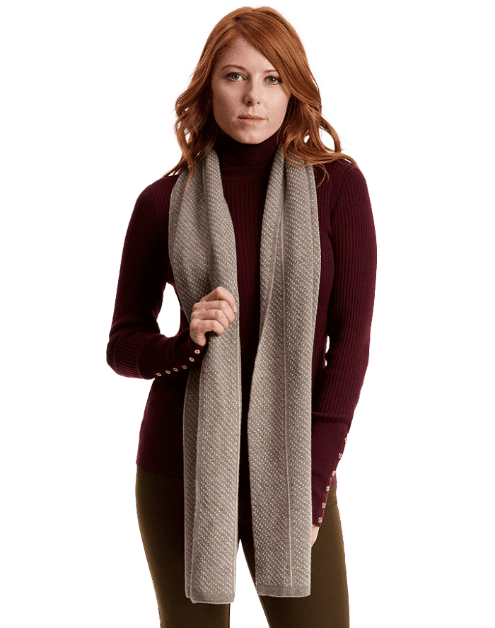 Female model wearing the qiviut scarf