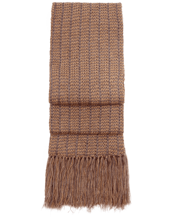 Fringed Intrecciata qiviut scarf - layered - soft and luxurious